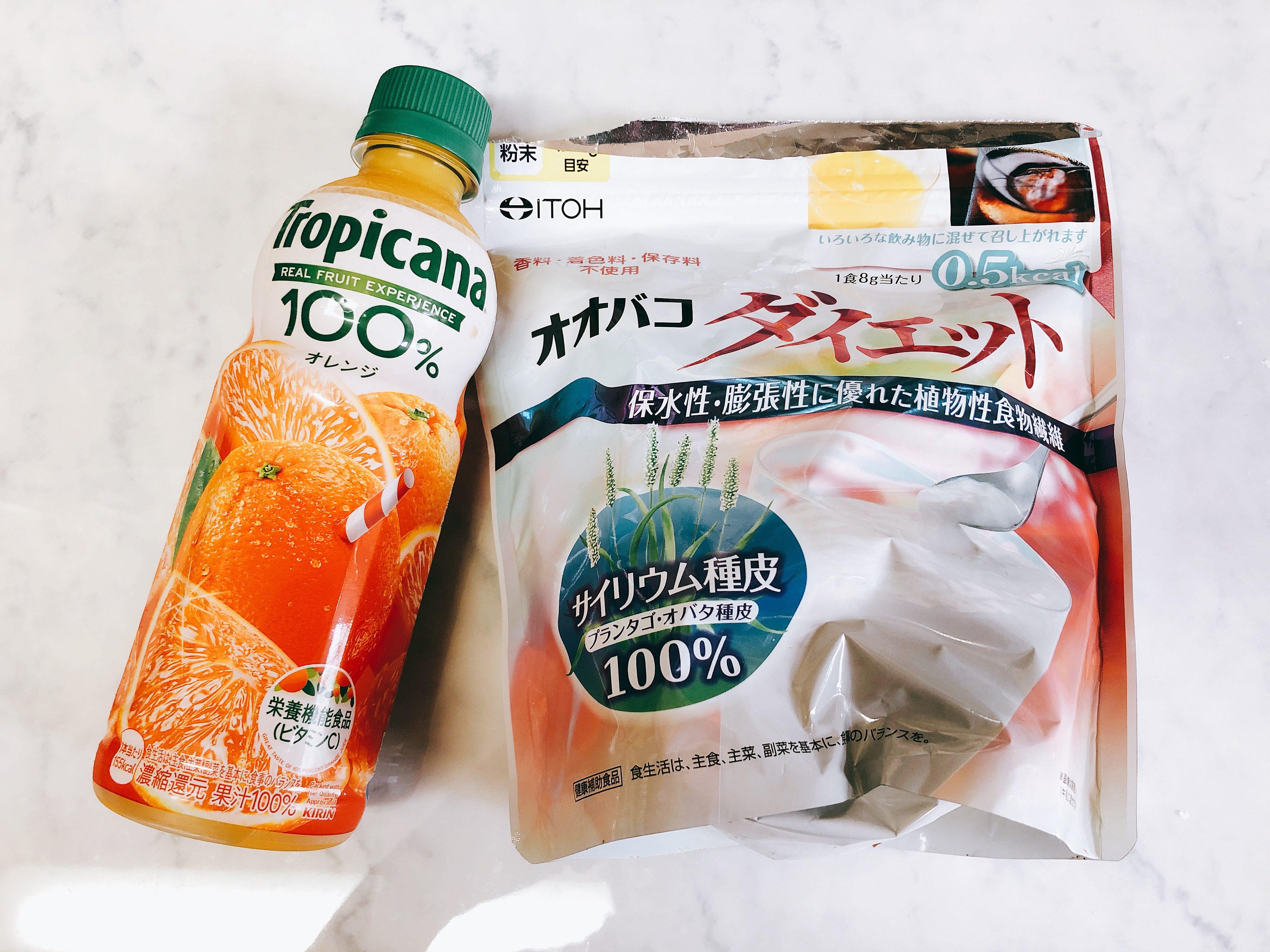 【オオバコダイエット】オレンジジュースと混ぜてみました!気になるそのお味は?【アレンジレシピ】